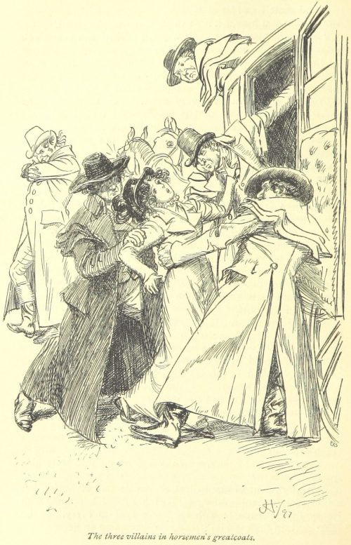 Jane Austen Northanger Abbey - the three villains in horsemen's greatcoats