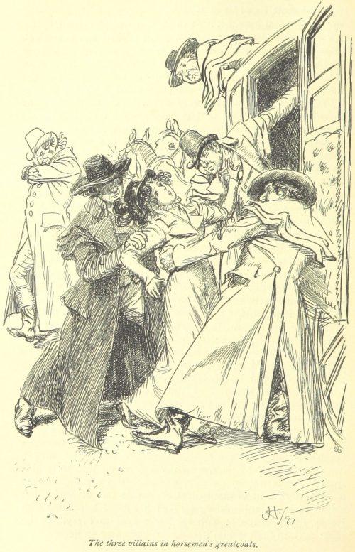Jane Austen Northanger Abbey - the three villains in horsemen's greatcoats