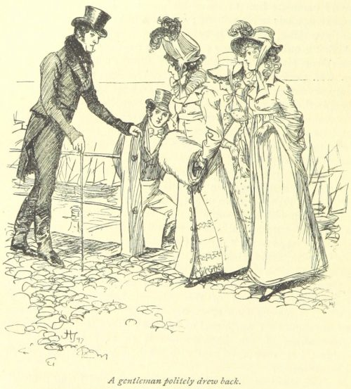 Jane Austen Persuasion - a gentleman politely drew back