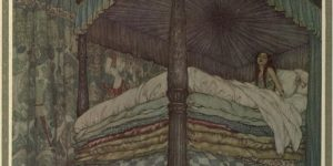 The Real Princess Illustration by Edmund Dulac - I have hardly closed my eyes the whole night! Heaven knows what was in the bed.