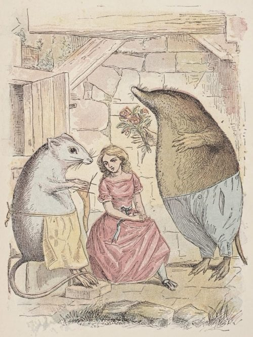 Thumbelina Fairy Tale by Hans Christian Andersen - Thumbelina with a Mole and Field Mouse