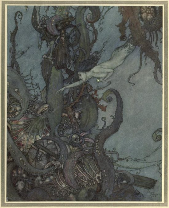 The Mermaid Illustration by Edmund Dulac - At the mere sight of the bright liquid