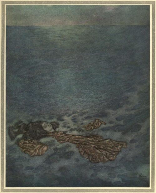 The Mermaid Illustration by Edmund Dulac - Dashed overboard and fell, her body dissolving into foam