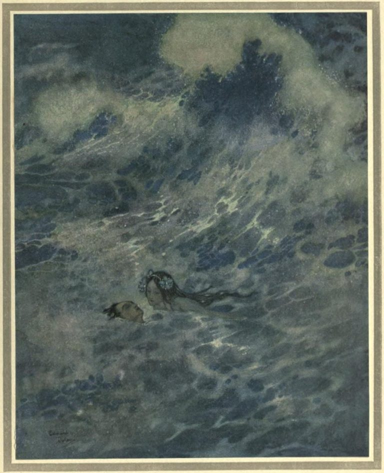 The Mermaid Illustration by Edmund Dulac - He must have died if the little mermaid had not come to the rescue
