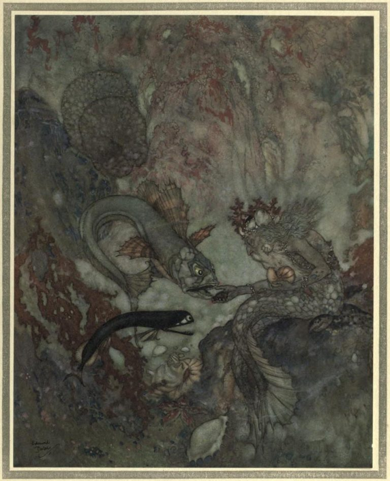 The Mermaid Illustration by Edmund Dulac - The Merman King had been for many years a widower