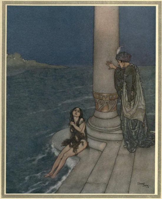 The Mermaid Illustration by Edmund Dulac - The prince asked who she was and how she came there