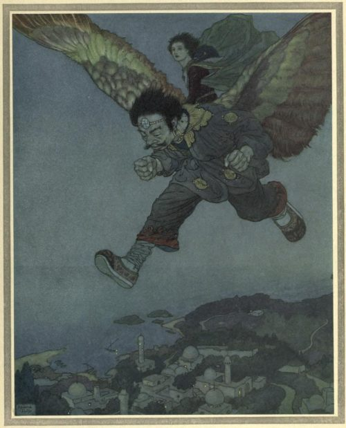 The Garden of Paradise Illustration by Edmund Dulac - The Eastwind flew more swiftly still
