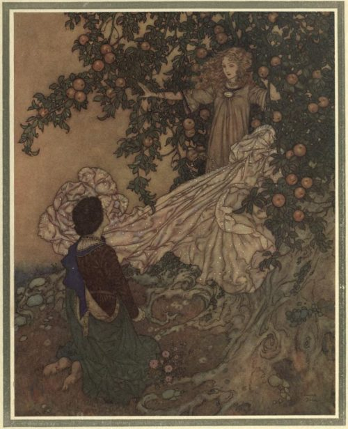 The Garden of Paradise Illustration by Edmund Dulac - The Fairy dropped her shimmering garment, drew back the branches, and a moment after was hidden within their depths