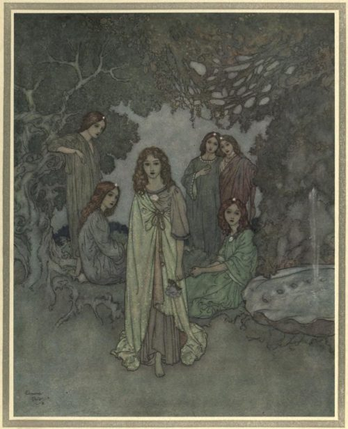 The Garden of Paradise Illustration by Edmund Dulac - The Fairy of the Garden now advanced to meet them
