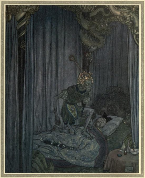 The Nightingale Illustration by Edmund Dulac - Even Death himself listened to the song
