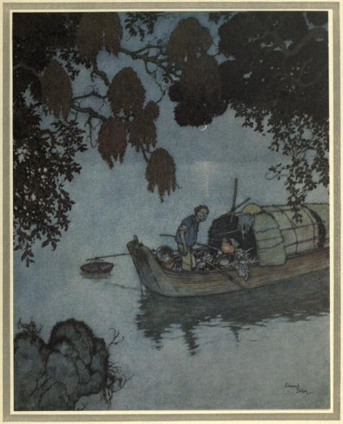The Nightingale Illustration by Edmund Dulac - Even the poor fisherman lay still to listen to it