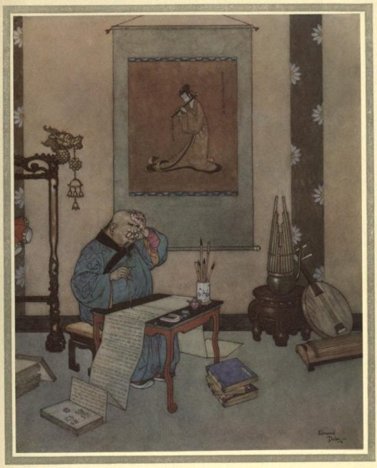 The Nightingale Illustration by Edmund Dulac - The music-master wrote five-and-twenty volumes about the artificial bird