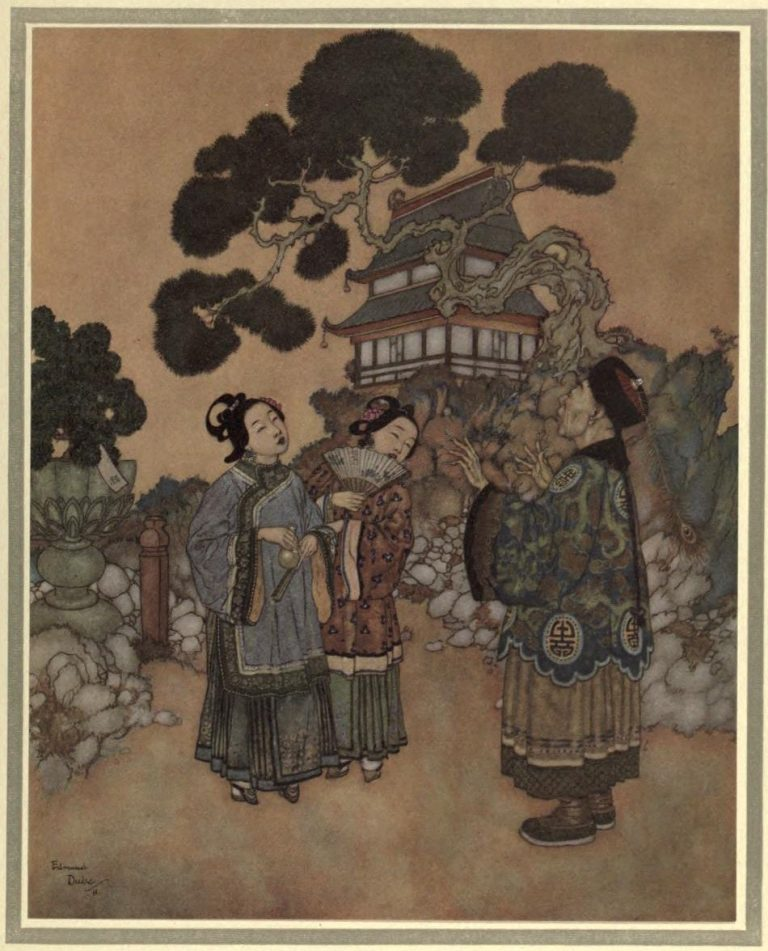 The Nightingale Illustration by Edmund Dulac - Took some water into their mouths to try and make the same gurgling, thinking so to equal the nightingale