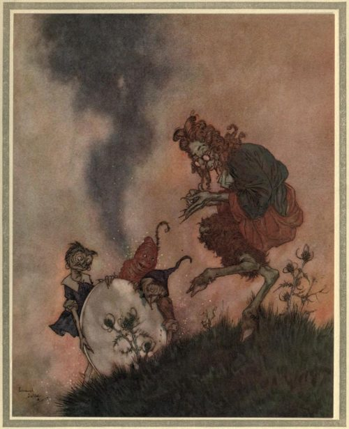 The Snow Queen Illustration by Edmund Dulac - One day he was in a high state of delight because he had invented a mirror