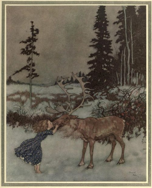 The Snow Queen Illustration by Edmund Dulac - Kissed her on the mouth, while big shining tears trickled down its face