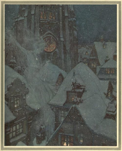 The Snow Queen Illustration by Edmund Dulac - Many a winter's night she flies through the streets