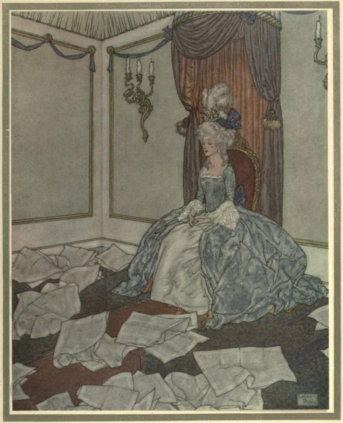 The Snow Queen Illustration by Edmund Dulac - She has read all the newspapers in the world, and forgotten them again, so clever is she