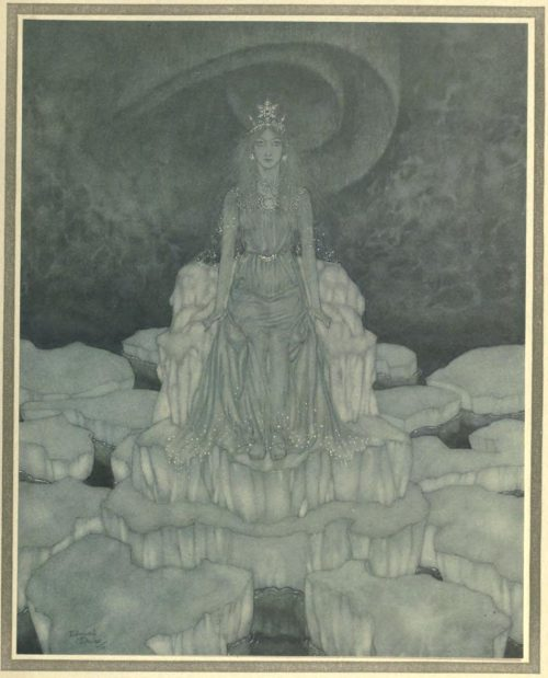 The Snow Queen Illustration by Edmund Dulac - The Snow Queen sat in the very middle of it when she sat at home