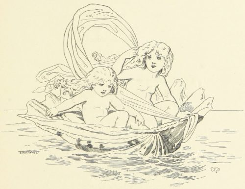Fairies in Boat Illustration by E. Gertrude Thomson