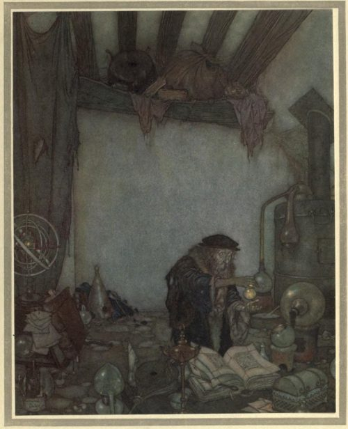 The Winds Tale Illustration by Edmund Dulac - He lifted it with a trembling hand and shouted with a trembling voice: 'Gold! gold!'