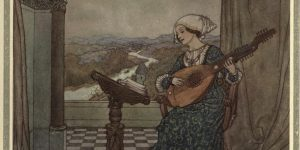 The Winds Tale Illustration by Edmund Dulac - She played upon the ringing lute, and sang to its tones