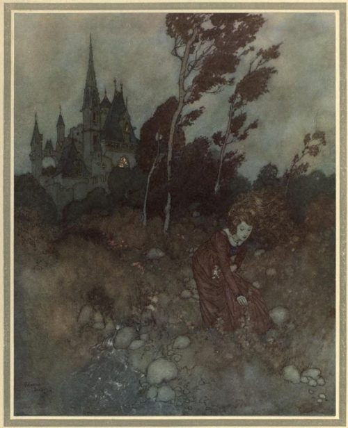 The Winds Tale Illustration by Edmund Dulac - She was always picking flowers and herbs