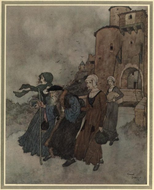 The Winds Tale Illustration by Edmund Dulac - with his three daughters, the once wealthy gentleman walked out