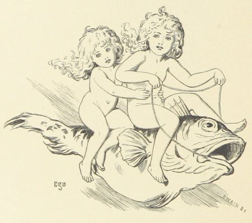 Fairies Riding on Fish Illustration by E. Gertrude Thomson