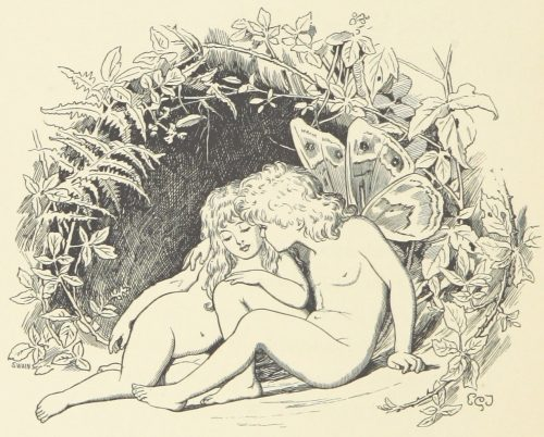 Fairies and Bower Illustration by E. Gertrude Thomson
