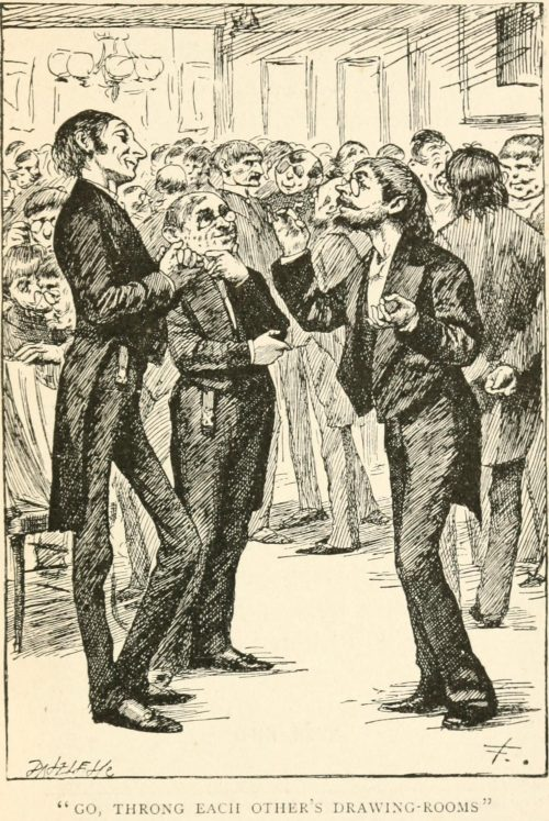Fame's Penny-Trumpet Poem - Go, throng each other's drawing-rooms Illustration by Arthur B. Frost