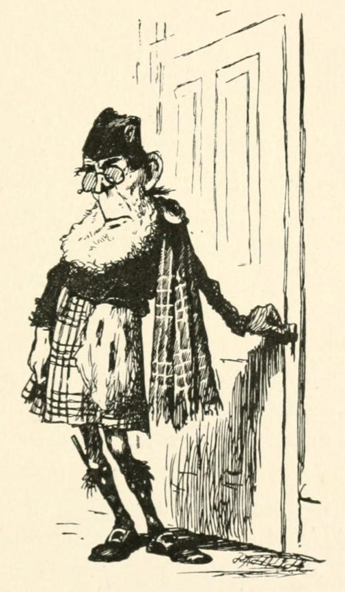 The Lang Coortin Poem - Sadly went he through the door Illustration by Arthur B. Frost