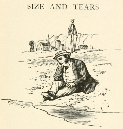 Size and Tears Poem - When on the sandy shore I sit Illustration by Arthur B. Frost