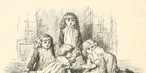 A Game of Fives Poem - Five little girls Illustration by Arthur B. Frost