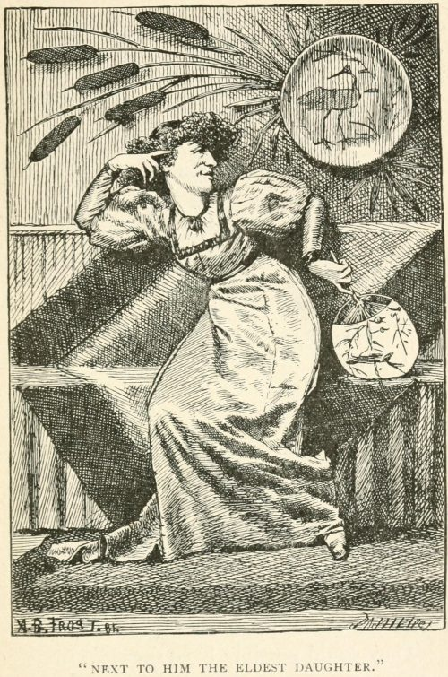 Hiawatha's Photographing Poem - Next to him the eldest daughter Illustration by Arthur B. Frost
