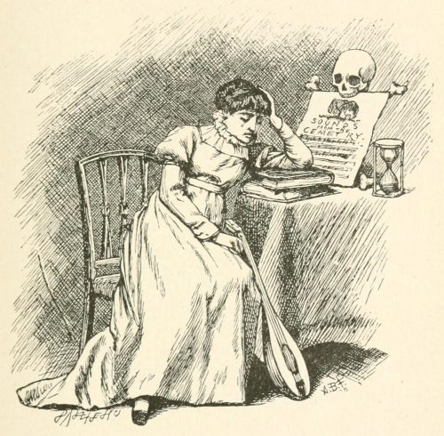 Melancholetta Poem - Sighing at the table Illustration by Arthur B. Frost