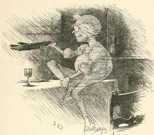 Phantasmagoria Poem - The Phantom dines Illustration by Arthur B. Frost
