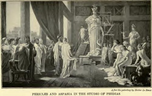 Pericles and Aspasia in the Studio of Phidias After the painting by Hector Le Roux