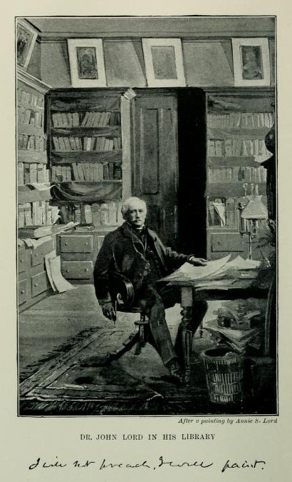 Dr John Lord in his library after a printing by Annie S. Lord