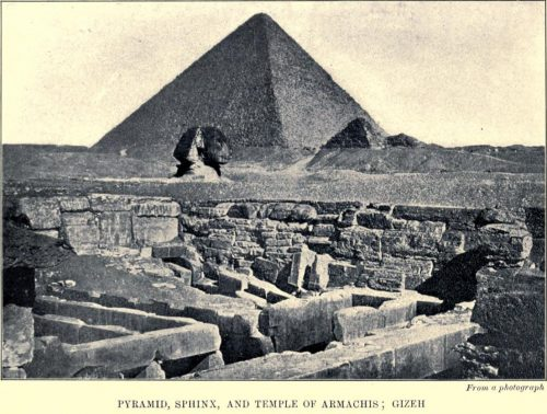 Pyramid, Sphinx, and Temple of Armachis, Gizeh From a photograph