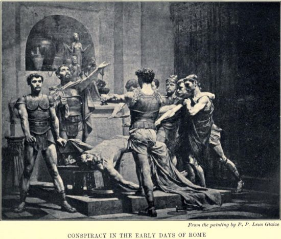 Conspiracy in the Early Days of Rome From the painting by P. P. Leon Glaize