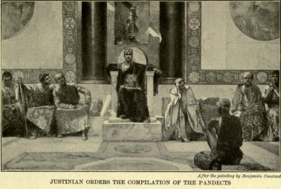 Justinian Orders the Compilation of the Pandects After the painting by Benjamin Constant