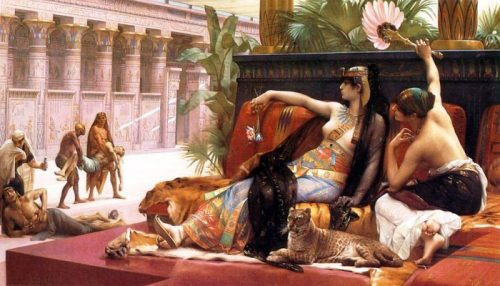 Cleopatra Tests the Poison which She Intends for Her Own Destruction on Her Slaves After the painting by Alexander Cabanel