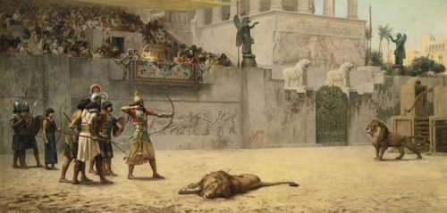 Archery Practice of a Persian King. After the painting by F.A. Bridgman