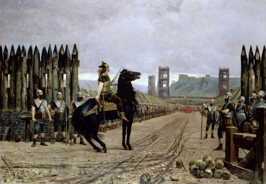Surrender of Vercingetorix, the Last Chief of Gaul. After the painting by Henri Motte