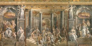 Baptism of Constantine From the painting by Francesco Penni, Vatican, Rome