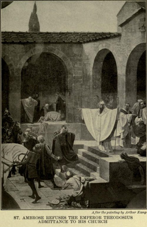 St. Ambrose Refuses the Emperor Theodosius Admittance to His Church. After the painting by Gebhart Fügel