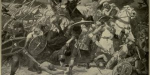 Invasion of the Goths into the Roman Empire. After the painting by O. Fritsche