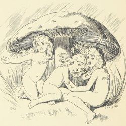 Fairies Under Mushroom Illustration by E. Gertrude Thomson