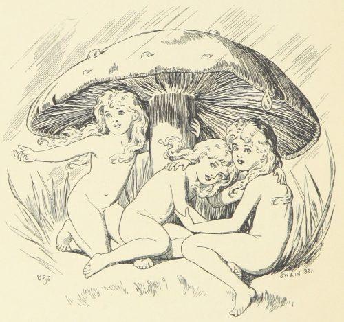 Fairies Under Mushroom Illustration by E. Gertrude Thomson