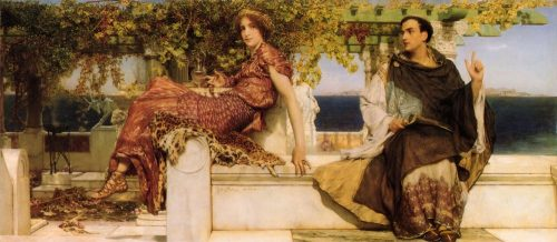 The Conversion of Paula by St. Jerome. After the painting by L. Alma-Tadema